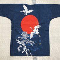 藍調バックプリント鯉口シャツ